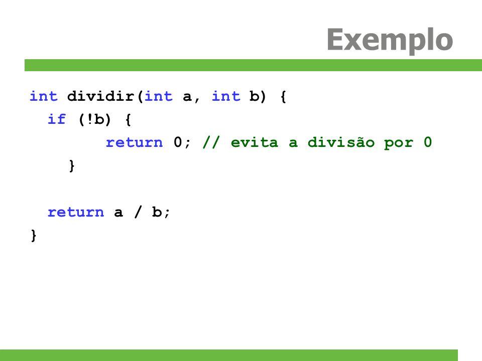 Exemplo int dividir(int a, int b) { if (!b) {