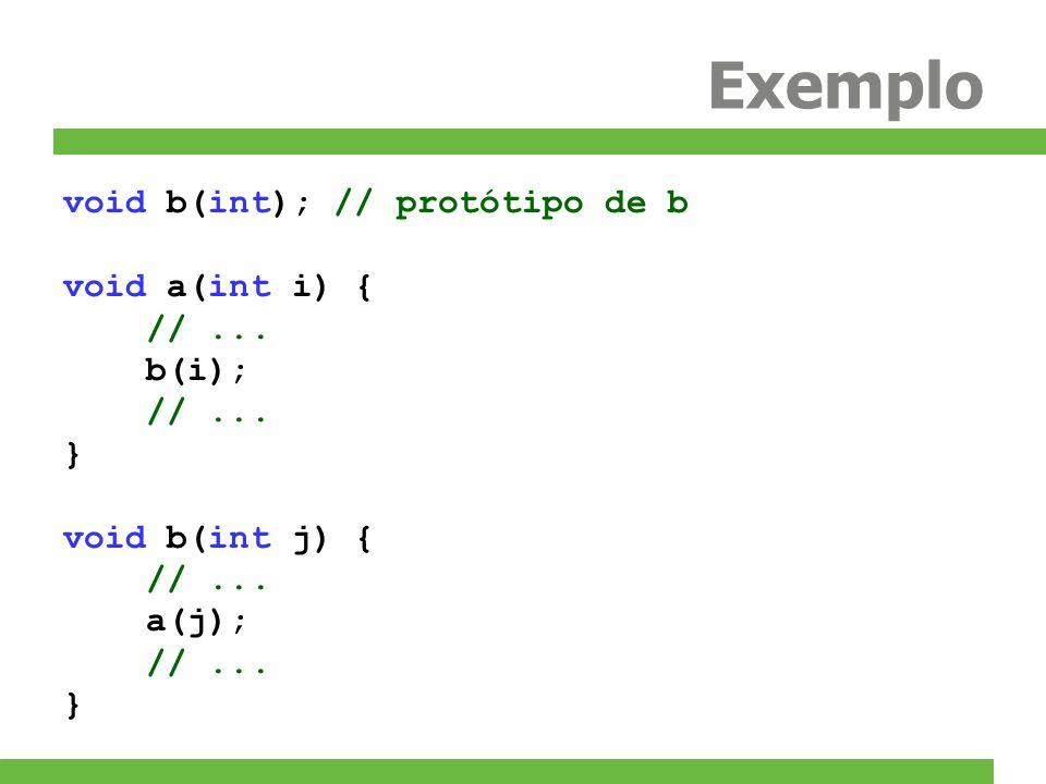Exemplo void b(int); // protótipo de b void a(int i) { // ... b(i); }