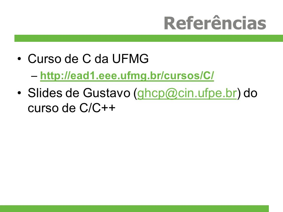 Referências Curso de C da UFMG