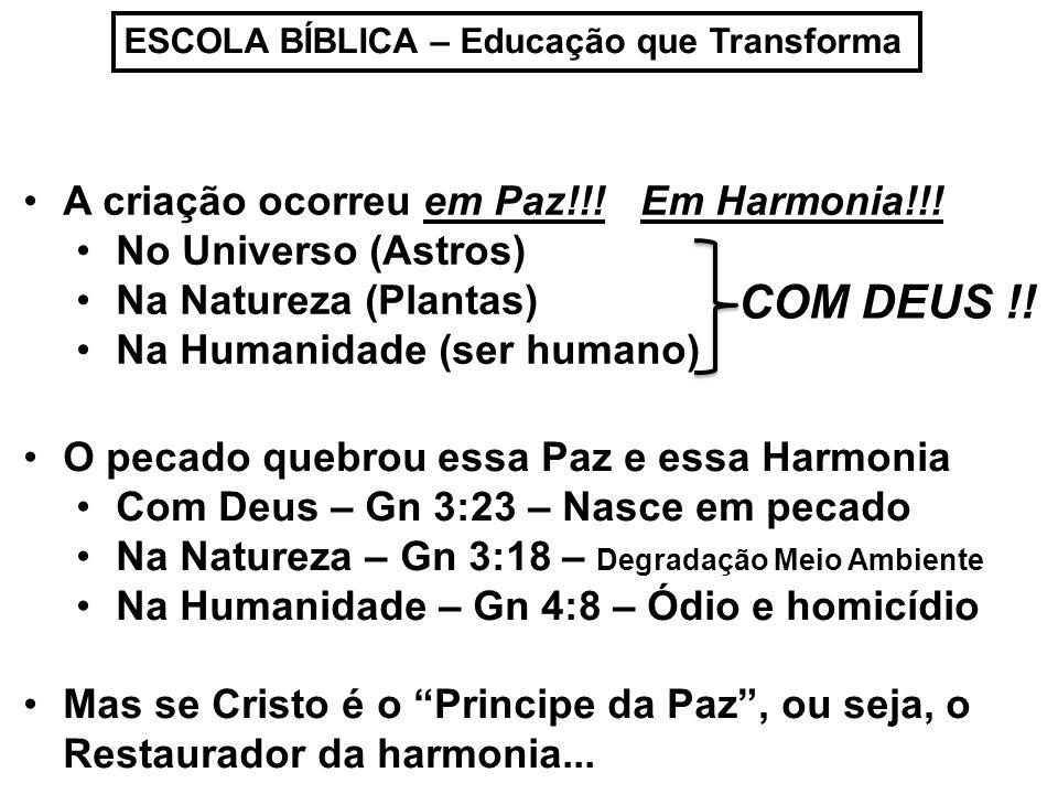 COM DEUS !! A criação ocorreu em Paz!!! Em Harmonia!!!