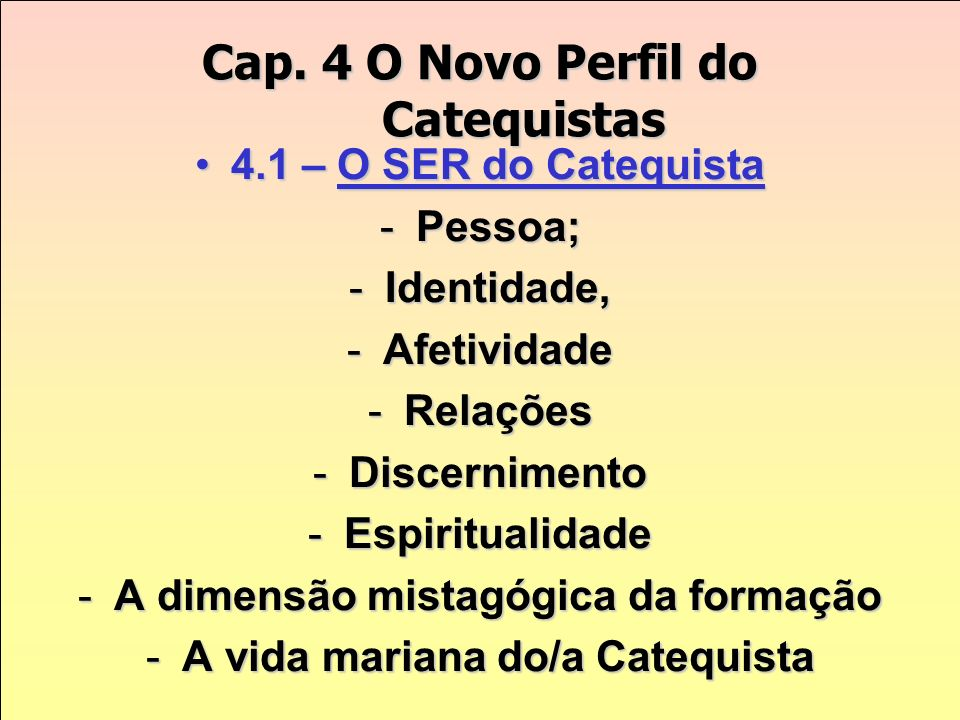 Cap. 4 O Novo Perfil do Catequistas