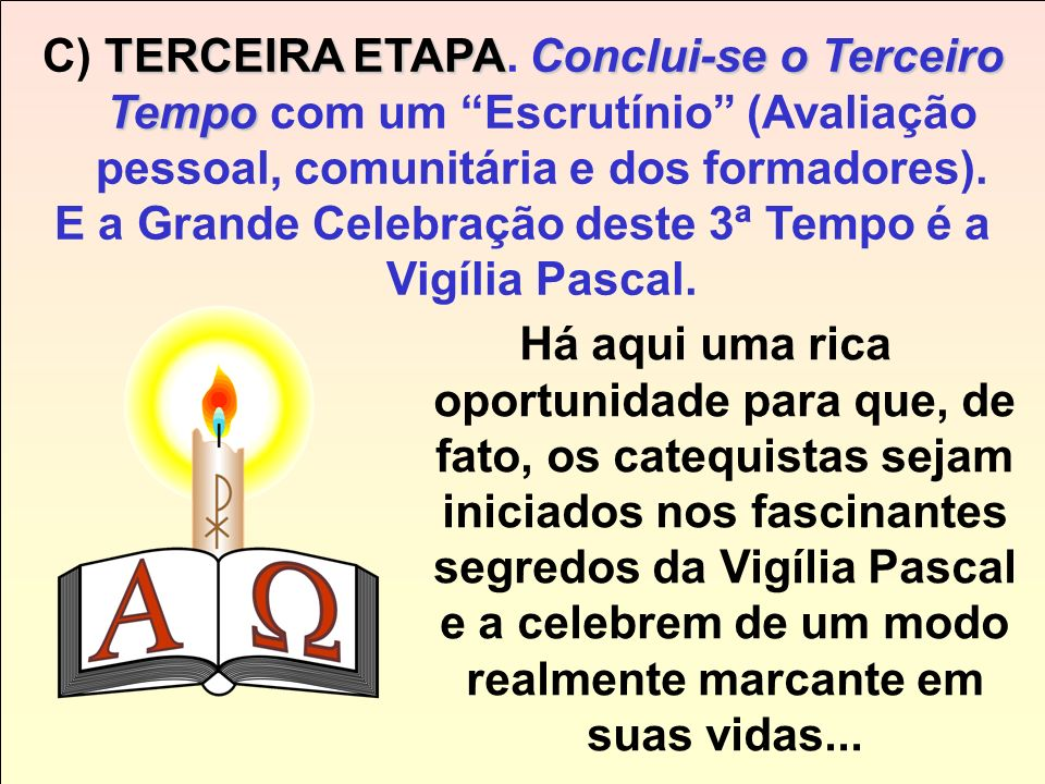 E a Grande Celebração deste 3ª Tempo é a Vigília Pascal.
