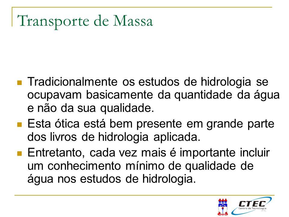 Transporte de Massa Tradicionalmente os estudos de hidrologia se ocupavam basicamente da quantidade da água e não da sua qualidade.