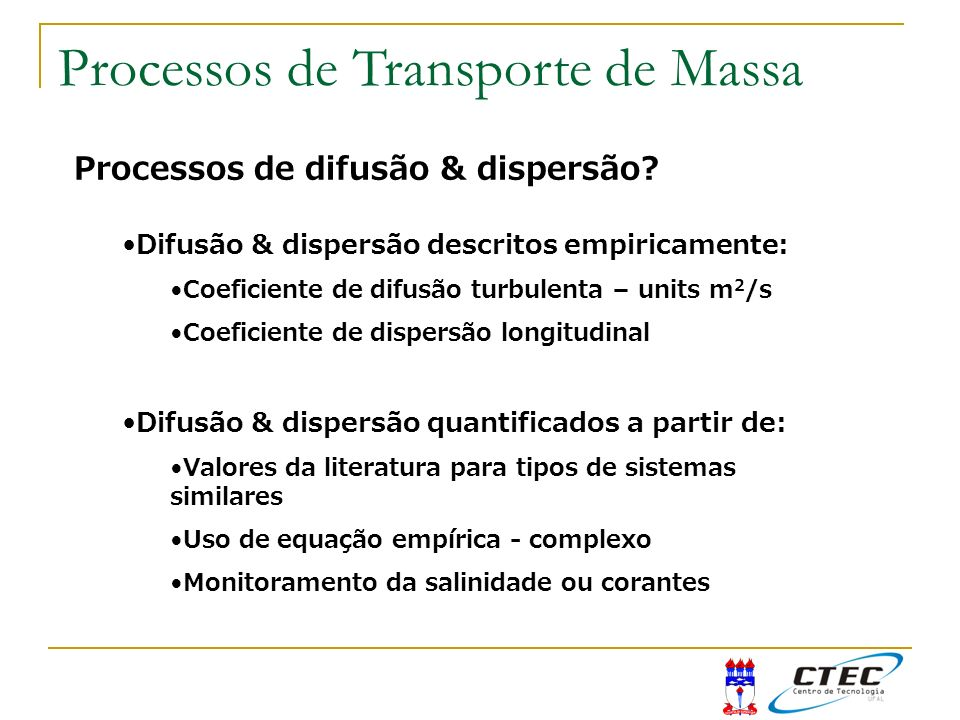 Processos de Transporte de Massa