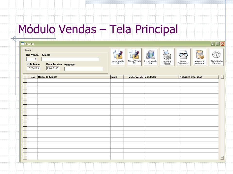 Módulo Vendas – Tela Principal