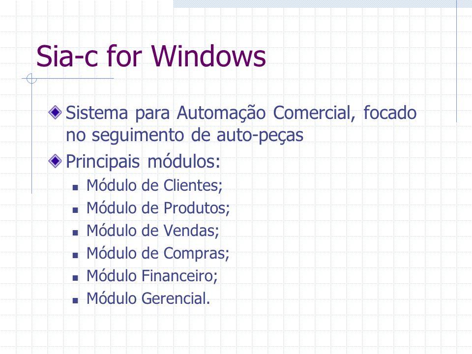 Sia-c for Windows Sistema para Automação Comercial, focado no seguimento de auto-peças. Principais módulos: