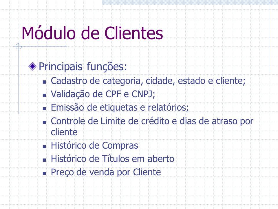 Módulo de Clientes Principais funções: