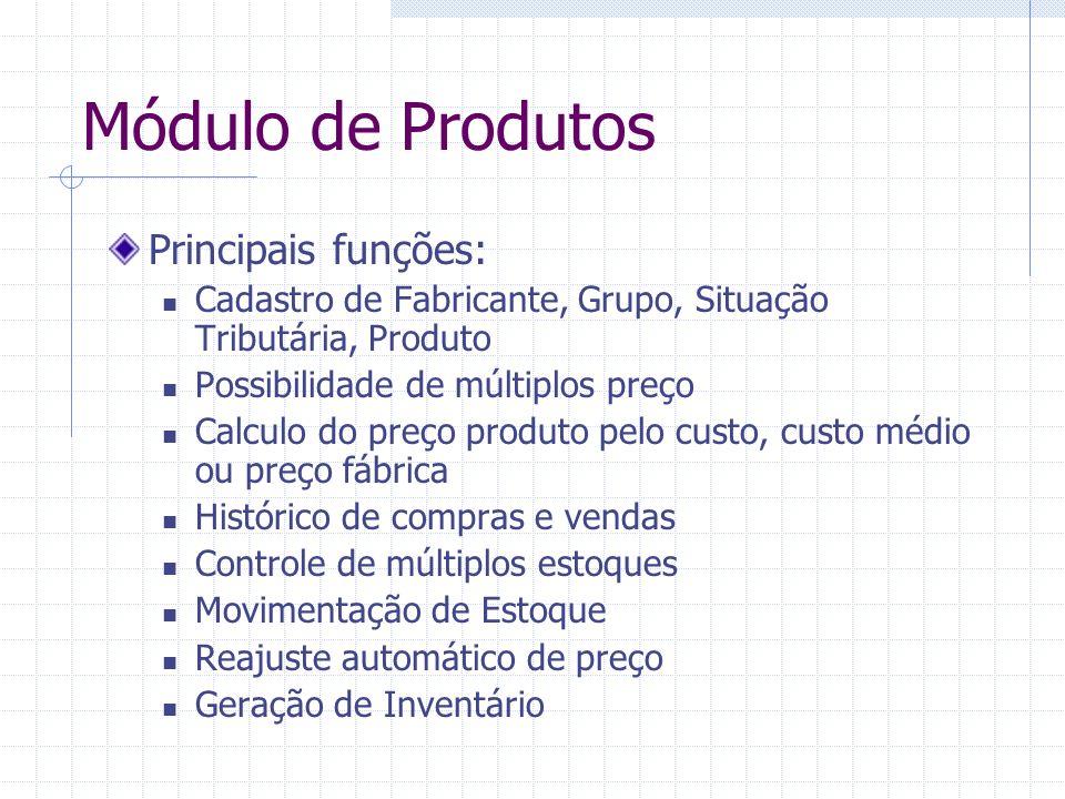 Módulo de Produtos Principais funções: