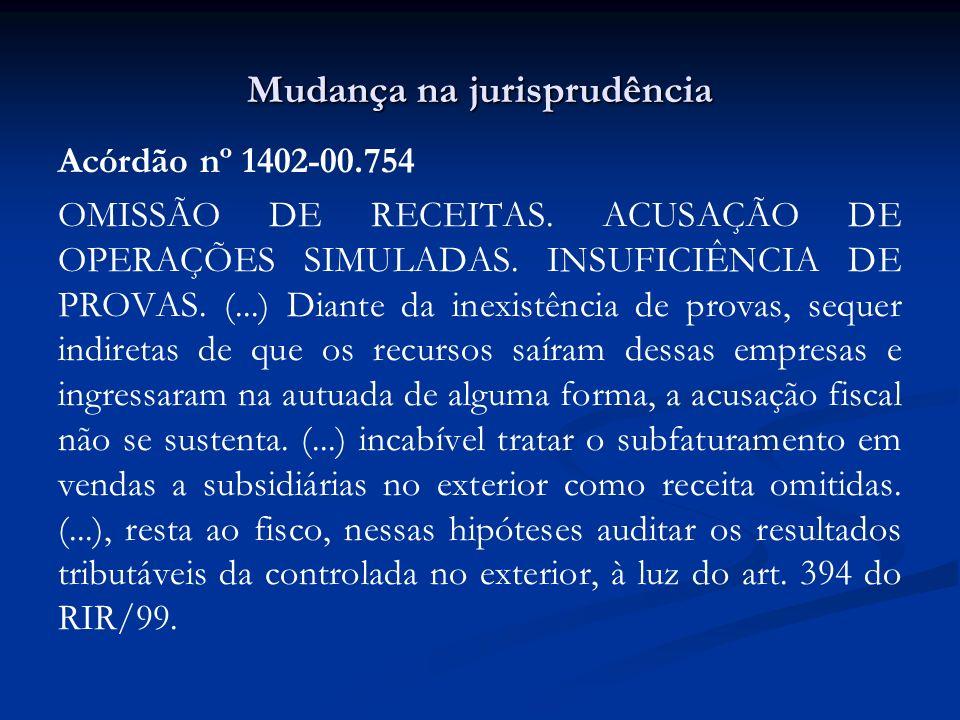 Mudança na jurisprudência