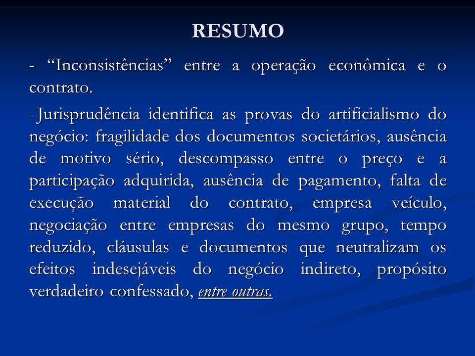 RESUMO - Inconsistências entre a operação econômica e o contrato.