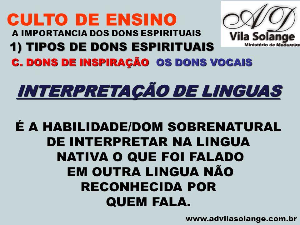 CULTO DE ENSINO INTERPRETAÇÃO DE LINGUAS