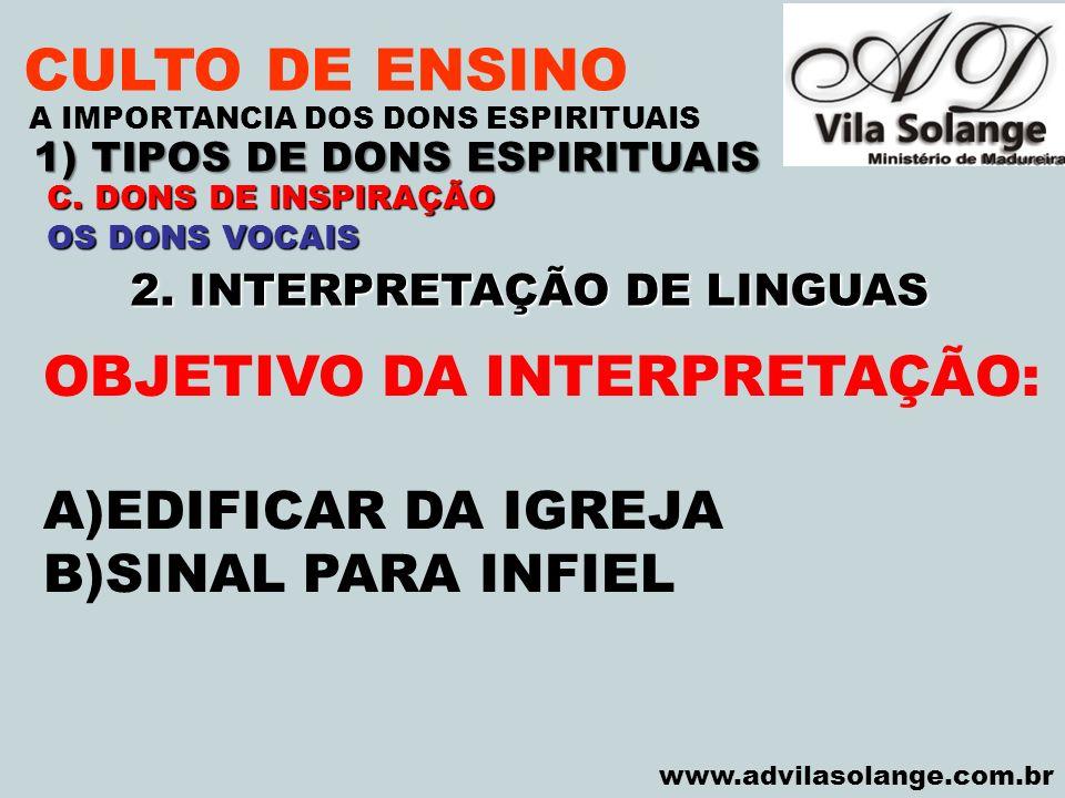 1) TIPOS DE DONS ESPIRITUAIS 2. INTERPRETAÇÃO DE LINGUAS