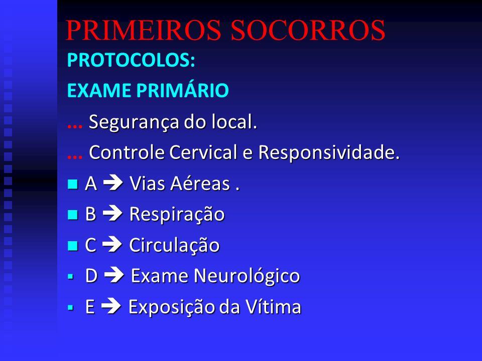 PRIMEIROS SOCORROS PROTOCOLOS: EXAME PRIMÁRIO ... Segurança do local.