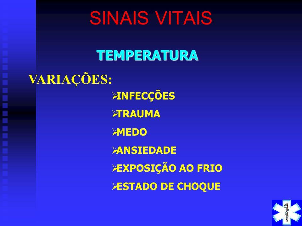 SINAIS VITAIS TEMPERATURA VARIAÇÕES: INFECÇÕES TRAUMA MEDO ANSIEDADE