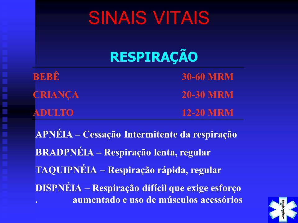 SINAIS VITAIS RESPIRAÇÃO BEBÊ 30-60 MRM CRIANÇA 20-30 MRM