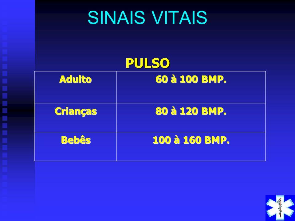 SINAIS VITAIS PULSO Adulto 60 à 100 BMP. Crianças 80 à 120 BMP. Bebês