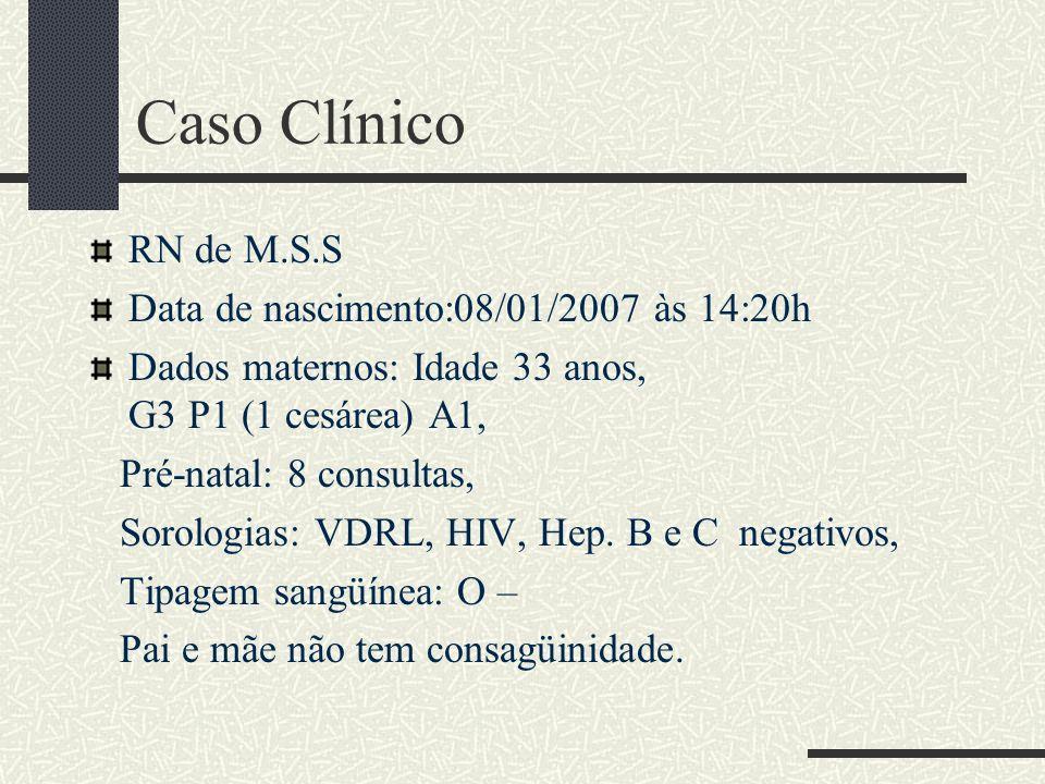 Caso Clínico RN de M.S.S Data de nascimento:08/01/2007 às 14:20h
