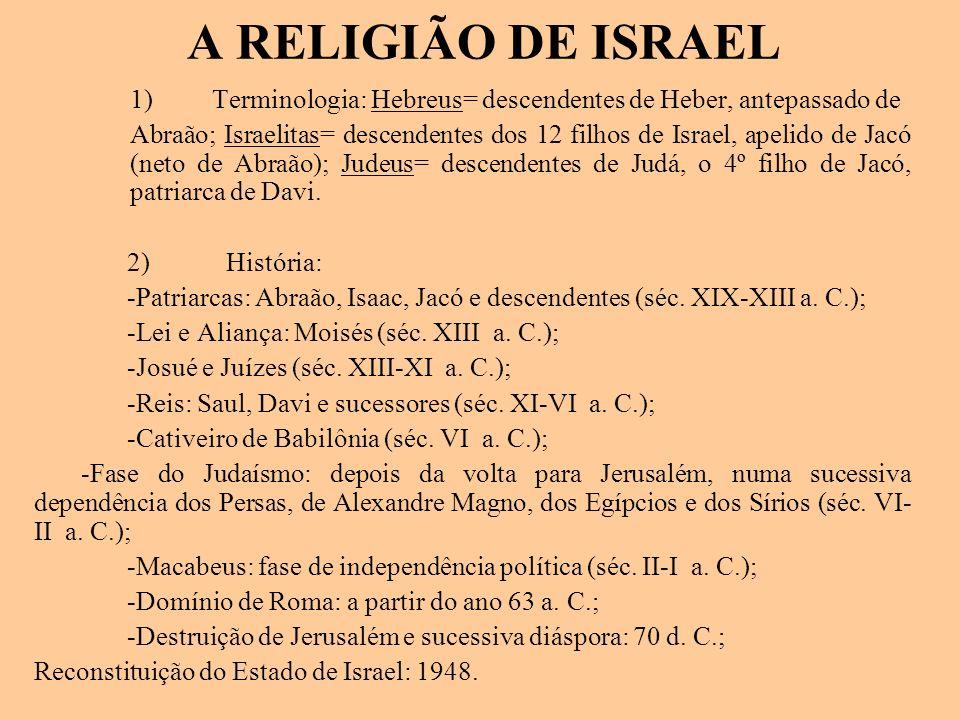 A RELIGIÃO DE ISRAEL 1) Terminologia: Hebreus= descendentes de Heber, antepassado de.