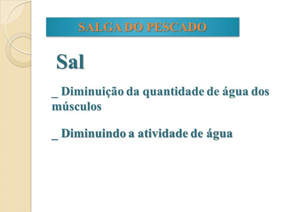 Sal SALGA DO PESCADO _ Diminuição da quantidade de água dos músculos