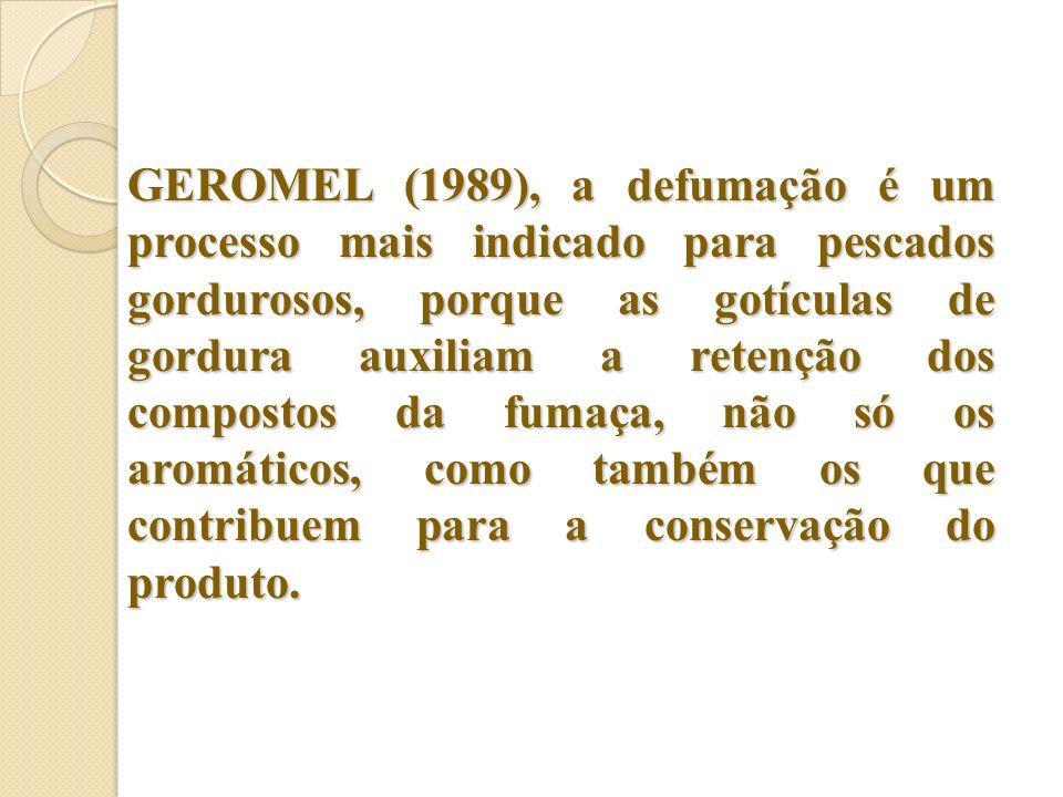 GEROMEL (1989), a defumação é um processo mais indicado para pescados gordurosos, porque as gotículas de gordura auxiliam a retenção dos compostos da fumaça, não só os aromáticos, como também os que contribuem para a conservação do produto.