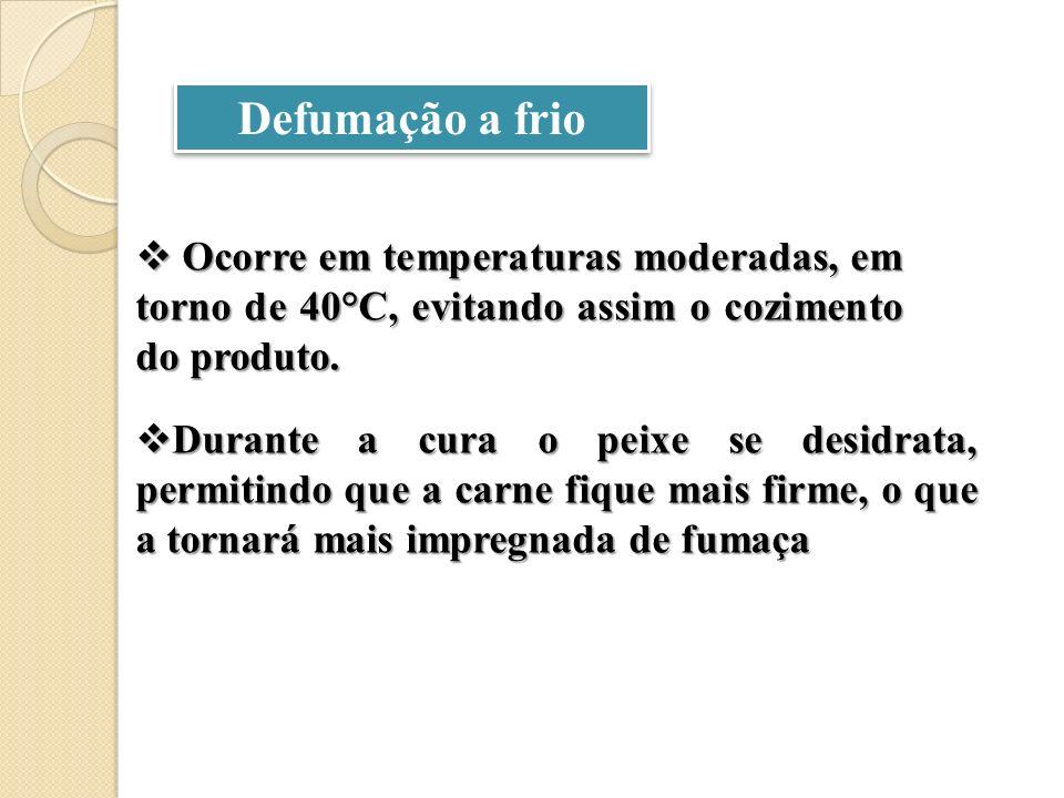 Defumação a frio Ocorre em temperaturas moderadas, em torno de 40°C, evitando assim o cozimento do produto.