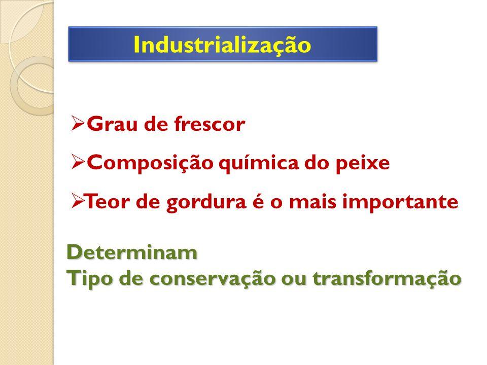 Industrialização Grau de frescor Composição química do peixe