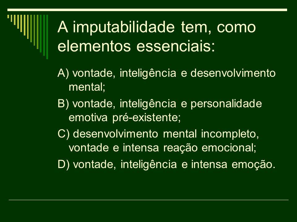 A imputabilidade tem, como elementos essenciais: