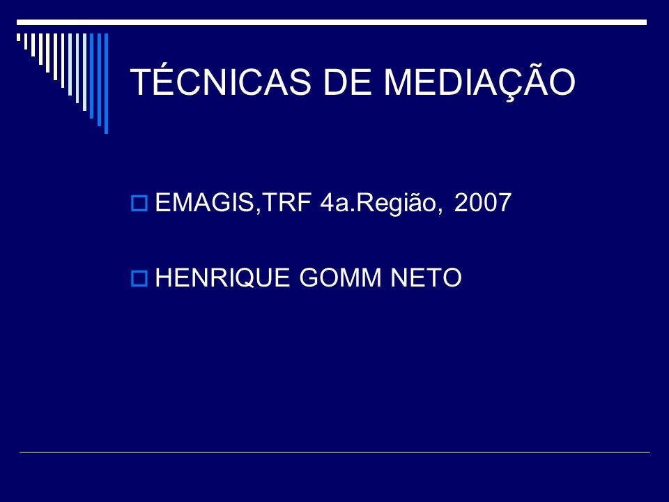 TÉCNICAS DE MEDIAÇÃO EMAGIS,TRF 4a.Região, 2007 HENRIQUE GOMM NETO