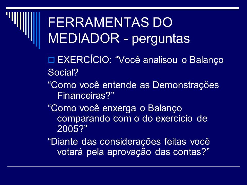 FERRAMENTAS DO MEDIADOR - perguntas