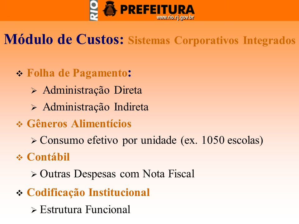 Módulo de Custos: Sistemas Corporativos Integrados