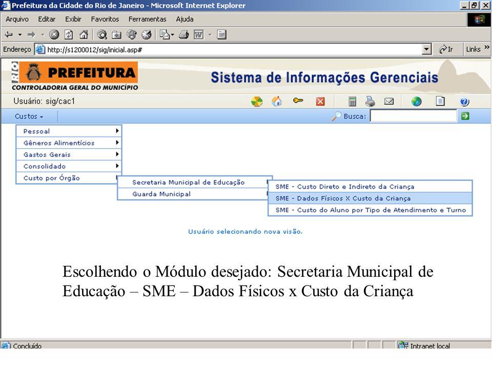 Escolhendo o Módulo desejado: Secretaria Municipal de Educação – SME – Dados Físicos x Custo da Criança