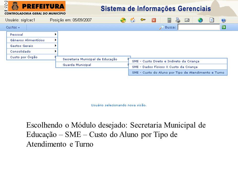 Escolhendo o Módulo desejado: Secretaria Municipal de Educação – SME – Custo do Aluno por Tipo de Atendimento e Turno