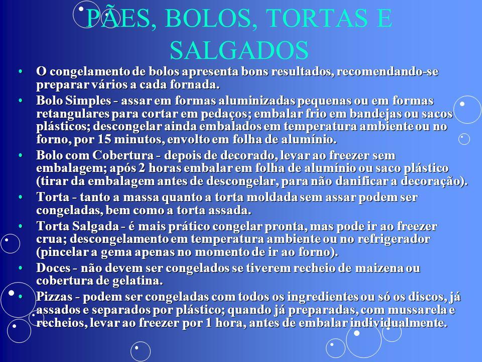 PÃES, BOLOS, TORTAS E SALGADOS