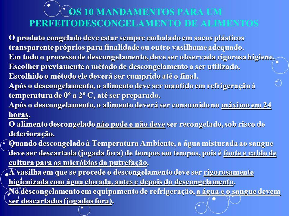 OS 10 MANDAMENTOS PARA UM PERFEITODESCONGELAMENTO DE ALIMENTOS