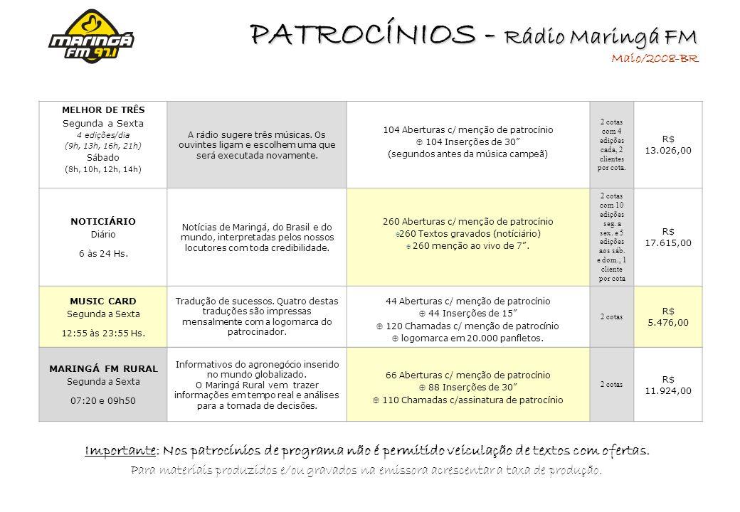 PATROCÍNIOS - Rádio Maringá FM Maio/2008-BR