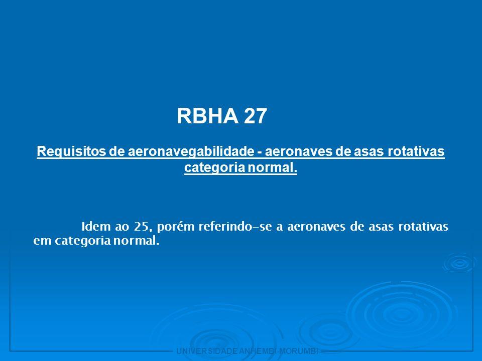 10 RBHA 27. Requisitos de aeronavegabilidade - aeronaves de asas rotativas categoria normal.