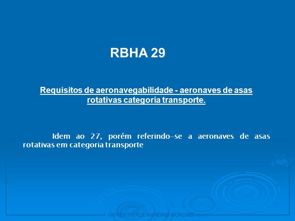 11 RBHA 29. Requisitos de aeronavegabilidade - aeronaves de asas rotativas categoria transporte.