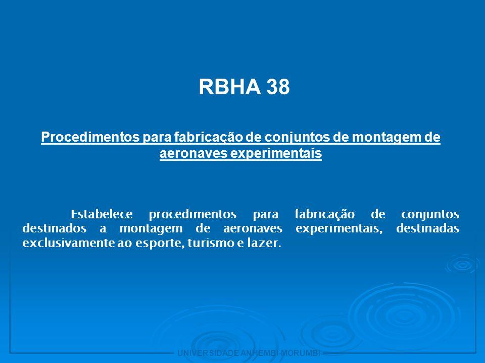 18 - RBHA 38. Procedimentos para fabricação de conjuntos de montagem de aeronaves experimentais.