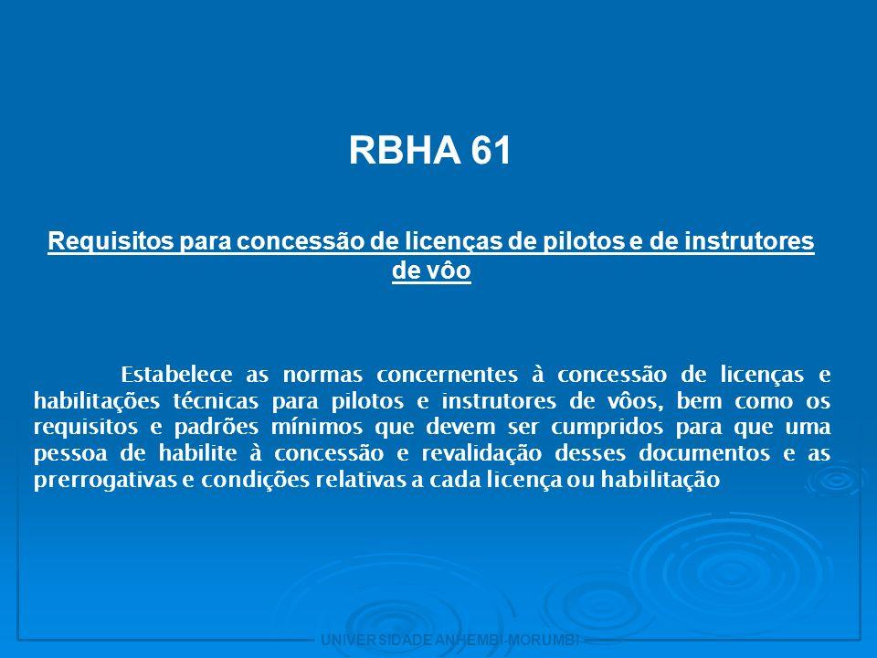 23 RBHA 61. Requisitos para concessão de licenças de pilotos e de instrutores de vôo.