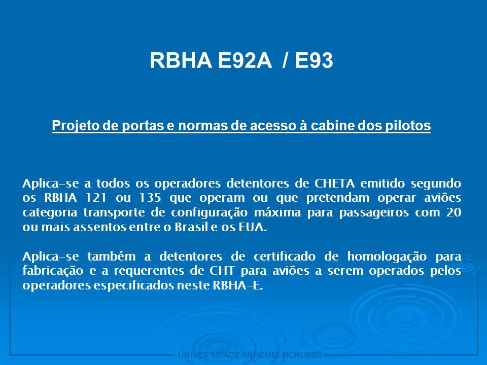 Projeto de portas e normas de acesso à cabine dos pilotos