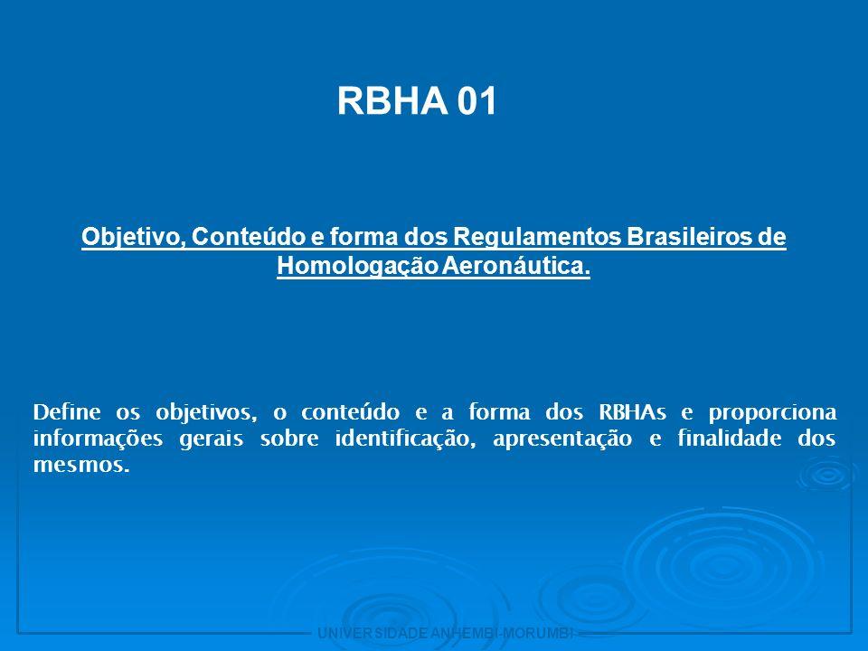 2 RBHA 01. Objetivo, Conteúdo e forma dos Regulamentos Brasileiros de Homologação Aeronáutica.