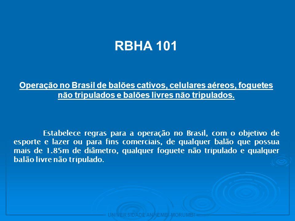 30 RBHA 101. Operação no Brasil de balões cativos, celulares aéreos, foguetes não tripulados e balões livres não tripulados.