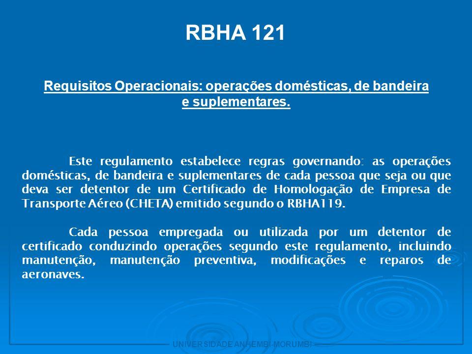 Requisitos Operacionais: operações domésticas, de bandeira