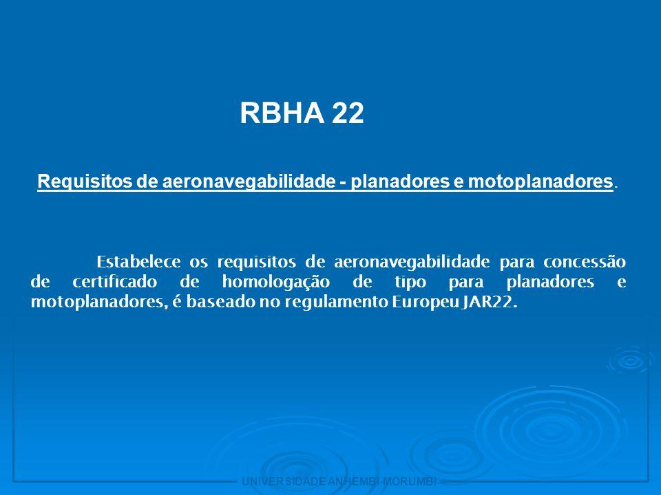 Requisitos de aeronavegabilidade - planadores e motoplanadores.