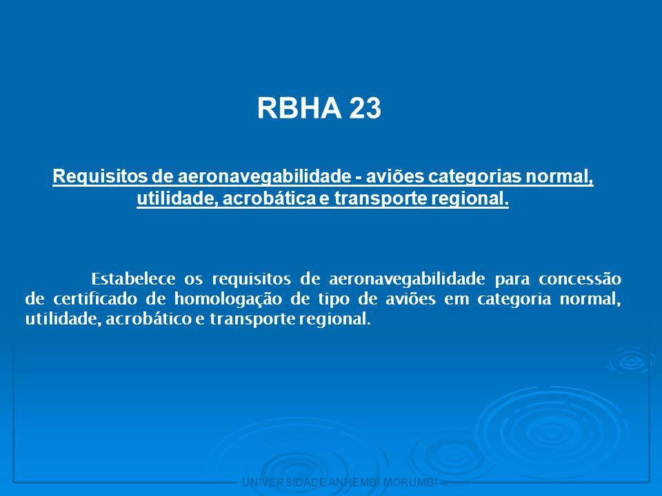 7 RBHA 23. Requisitos de aeronavegabilidade - aviões categorias normal, utilidade, acrobática e transporte regional.