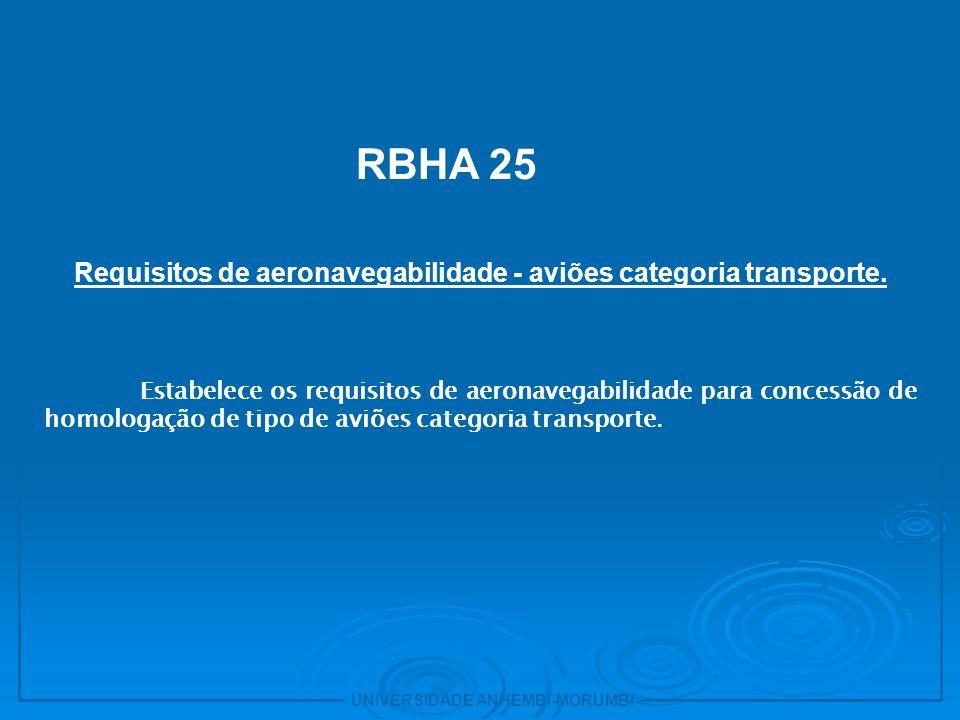 Requisitos de aeronavegabilidade - aviões categoria transporte.