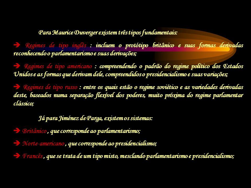 Já para Jiménez de Parga, existem os sistemas: