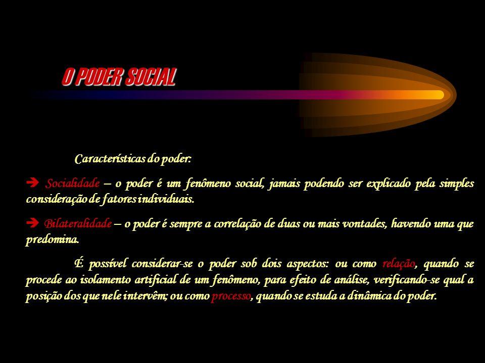 O PODER SOCIAL Características do poder:
