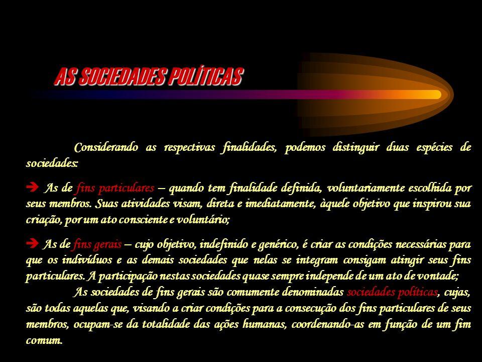 AS SOCIEDADES POLÍTICAS