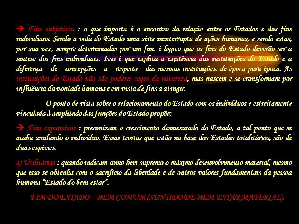 FIM DO ESTADO = BEM COMUM (SENTIDO DE BEM-ESTAR MATERIAL).